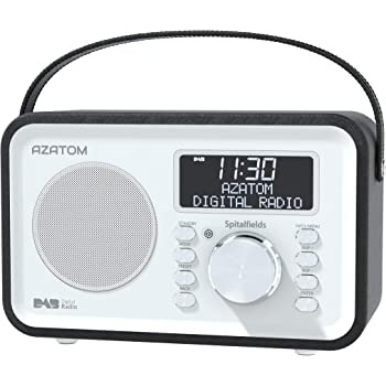 Spitalfields Retro DAB/DAB+ Digital FM Portable Radio/Alarm Clock/Leather Effect Finish/Mains Powered/Rechargable Battery/Subwoofer/Premium Stereo Sound (Black)
