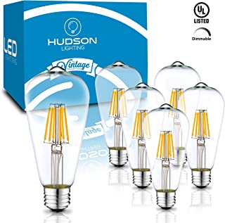 Dimmable LED Edison Light Bulbs: 6 Watt, 4000K Daylight White Lightbulbs - 60W Equivalent - E26 Base - Vintage Light Bulb Set - 6 Pack