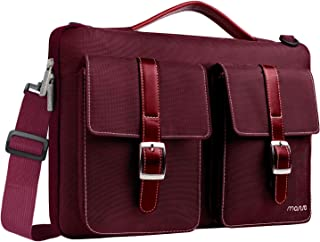 MOSISO 360° Protective Laptop Shoulder Bag Compatible 13-13.3 Inch MacBook Pro, MacBook Air with Organizer Pockets, Shockproof Spill Resistant Polyester Briefcase Handbag Carrying Sleeve, Wine Red