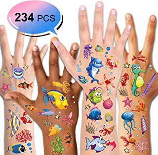 Konsait 234PCS Tropical Fish Temporary Tattoos for Kids Boys Girls Ocean Sea Children's Birthday Party Bag Filler, Fake Waterproof Tattoo Stickers For Kids Party Decorations Supplies Favors