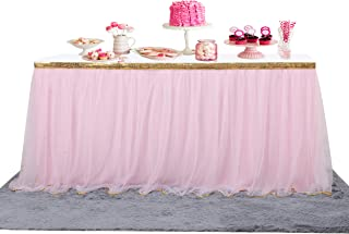 Besutolife Tutu Table Skirt Gold Trim Pink Tulle Table Skir for Baby Shower Wedding Golden Birthday Party Decorations 14 ft