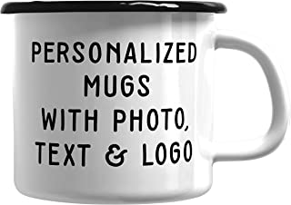 Custom Photo Mugs - Customized Enamel Coffee Mug for Campers & Adventurers - Add Photo, Logo, Picture or Text on Coffee Mugs, Ceramic Custom Mug, Great Photo Gifts for Mom, Dad and Office
