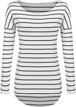 POGTMM Long Sleeve Striped T Shirt Tunic Tops for Leggings for Women