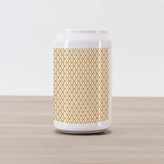 Ambesonne Abstract Cola Can Shape Piggy Bank, Vector Illustration Seamless Pattern Eastern Inspired Artwork Print, Ceramic Cola Shaped Coin Box Money Bank for Cash Saving, Marigold White