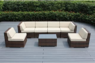 Ohana 7-Piece Outdoor Patio Furniture Sectional Conversation Set, Mixed Brown Wicker with Beige Cushions - No Assembly with Free Patio Cover
