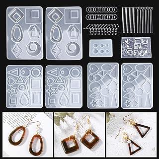 LET'S RESIN シリコンモールド イヤリングモールド 8セット 51種類 ジュエリーモールド UVレジン型 エポキシ樹脂 ソフトモールド DIY 樹脂イヤリング 手作り 抜き型 半透明 オリジナル ギフト おしゃれ