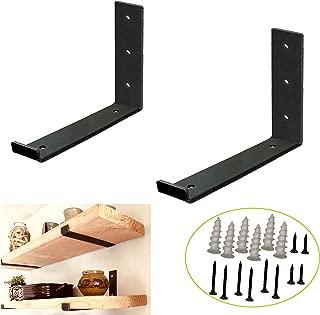 Shelf Brackets for a True 12 inch Lumber Board,Rustic Heavy Duty Shelf Supports, Hook Iron Shelf J Bracket, Lip Metal Modern Industrial Shelf Bracket (2 Pack)