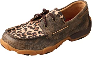 Twisted X Kid's Driving Moccasins Distressed/Leopard - Low-Cut Outdoor Casual Footwear