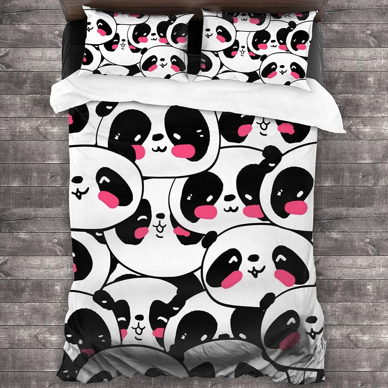 3 Pieces Bedding Minneapolis Mall Set Cute Black Panda Soft Twin White San Antonio Mall Quilt