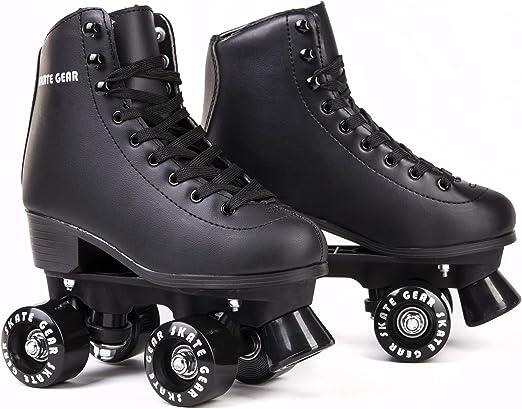 A pair of black roller skates