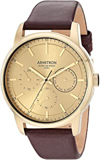 Armitron Men's Multi-Function Dial Gold-Tone and Brown Leather Strap Watch, 20/5431GDGPBN