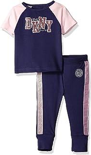 DKNY Girls' Short Sleeve T-Shirt and Jogger Sleepwear Set