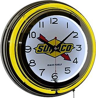 Sunoco Race Fuel Gasoline Logo Advertising Double Yellow Neon Wall Clock