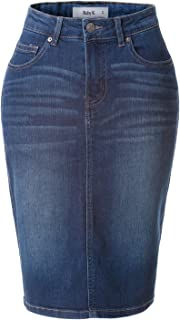 Womens High Waisted Denim Pencil Skirt with Stretch