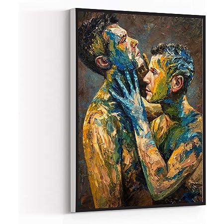 WALL ART FOR MEN,room decor,oil painting nude male man,men oil painting art MEN MAN GAY art work,8''x12''Framed Modern Canvas Wall Art,