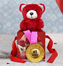 TIED RIBBONS Valentines Day Gift for Wife - Gift Pack (Gold Medal, Cute Teddy in Gift Box)