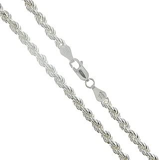 Sterling Silver Men's Diamond-Cut Rope Chain 3mm 3.3mm 3.7mm 4.7mm 5.4mm 6mm 7mm 8mm Solid 925 Italy Heavy Necklace