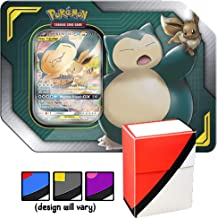 Sun & Moon Team Up Tin Snorlax & Eevee GX Tag Team with Totem World Card Protector Deck Box - Compatible with Pokemon Cards - 4 TCG Booster Packs, GX Marker & Code Card Inside