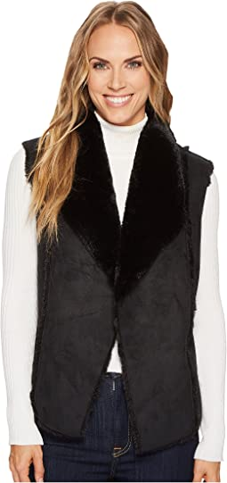 Tribal - Faux Fur Vest w/ Shawl Collar Back