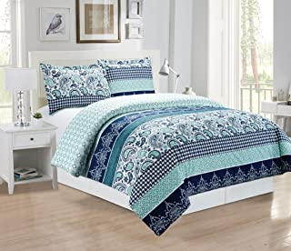 3-Piece Fine printed Paisley Duvet Cover Set KING SIZE - 1500 series high thread count Brushed Microfiber - Luxury Soft, Durable (Navy Blue Paisley)