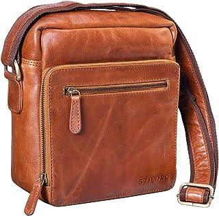 STILORD Joris Vintage Sac Besace Moyen Unisexe//Sac a Bandouliere Housse pour Tablette-PC//iPad 10.1 Pouces Cuir de Vachette Cognac Couleur:Kara