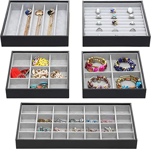 Magic Stackable Jewelry Trays Closet Dresser Drawer Organizer for Accessories, Gadgets & Cosmetics, Storage Display S...