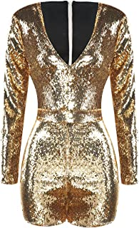 d2850dca1258 ASMAX HaoDuoYi Womens Mardi Gras s Sparkly Sequin V Neck Party Clubwear Romper  Jumpsuit