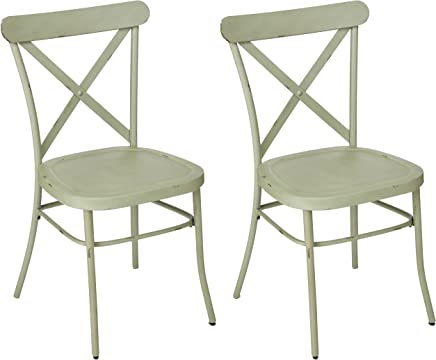 Ashley Furniture Signature Design - Minnona Dining Side Chair - Set of 2 - Cross Back - Vintage Casual Style - Antique Light Green Finished Metal