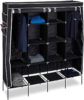 Relaxdays Armoire pliante VALENTIN 181x167x43 cm penderie pliable en tissu 2 tringles et 12 compartiments, noir