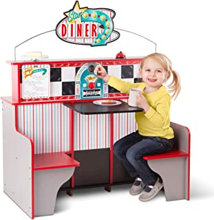 Melissa & Doug Star Diner Restaurant (Play Set & Kitchen, Wooden Diner Play Set, Two Play Spaces in One, 35