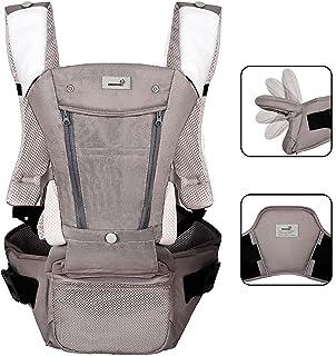 Portabebés ergonómico para todas las estaciones, plegable con soporte lumbar para recién nacidos y niños de 8 a 65 libras