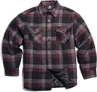 YAGO Men's Quilted Lining Button Up Plaid Flannel Shirt Jacket with Side Pockets