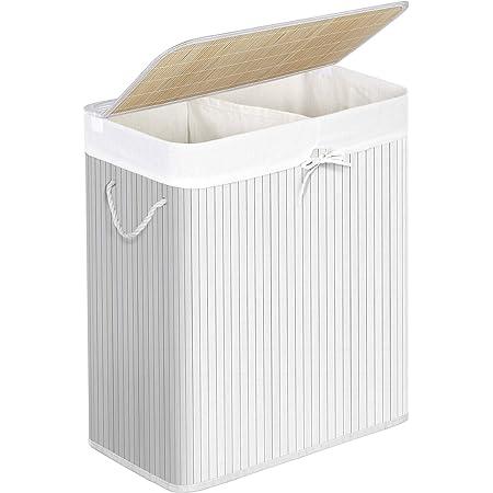 SONGMICS Panier à linge avec couvercle, Corbeille à linge en bambou, 2 compartiments de tri, sac amovible, poignées en coton, volume 100L, pour buanderie, chambre, Blanc LCB64WT