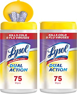 Lysol Dual Action Disinfecting Wipes Value Pack, Citrus, 75 Wipes Each
