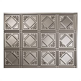 Fasade Easy Installation Traditional 4 Brushed Nickel Backsplash Panel for Kitchen and Bathrooms (18