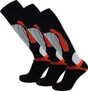 PureAthlete Elite Wool Race Ski Socks - Warm Comfortable Snowboard/Skiing Socks (Black/Orange - 3 Pack, L/XL)