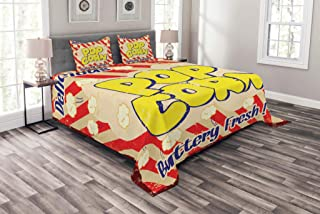 Lunarable 1960s Bedspread, Popcorn Vintage Grunge Delicious Buttery Tasty Movie Advertising, Decorative Quilted 3 Piece Coverlet Set with 2 Pillow Shams, King Size, Dark Blue Yellow Cream Scarlet