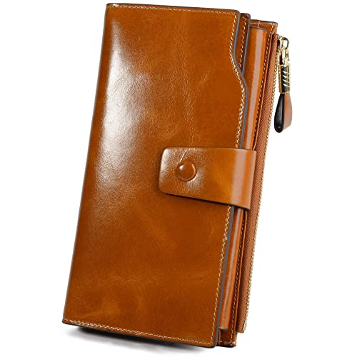 YALUXE Women s RFID Blocking Large Capacity Luxury Wax Genuine Leather  Clutch Wallet Multi Card Organizer dce2fbeddd