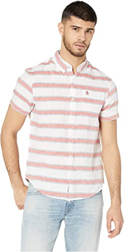 Short Sleeve Linen Bold Stripe Shirt