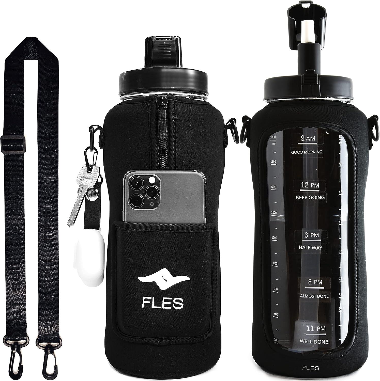 FLES Botella de agua con pajita (negra) de 64 onzas para rastrear los tiempos de bebida. Botella de 2 litros sin BPA y funda para teléfono con correa.