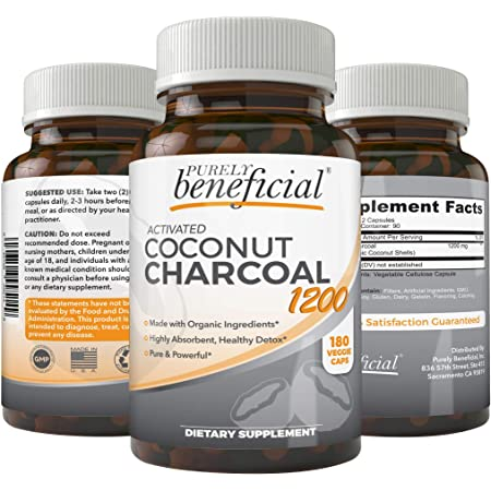Activated Coconut Charcoal 1200mg, 180 Capsules - Pills for Digestive System, Bloating, Detoxification, Teeth Whitening, Vegan (1bottle)