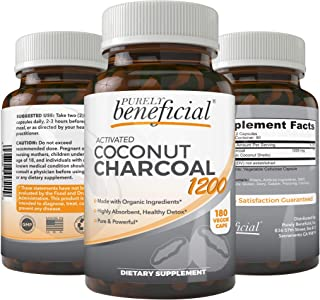 Organic Activated Coconut Charcoal 1200mg, 180 Capsules Pills for Digestive System, Bloating, Prevent Hangovers, Detoxification, Teeth Whitening