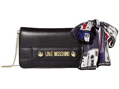 LOVE Moschino Lettering Clutch/Crossbody (Black) Handbags