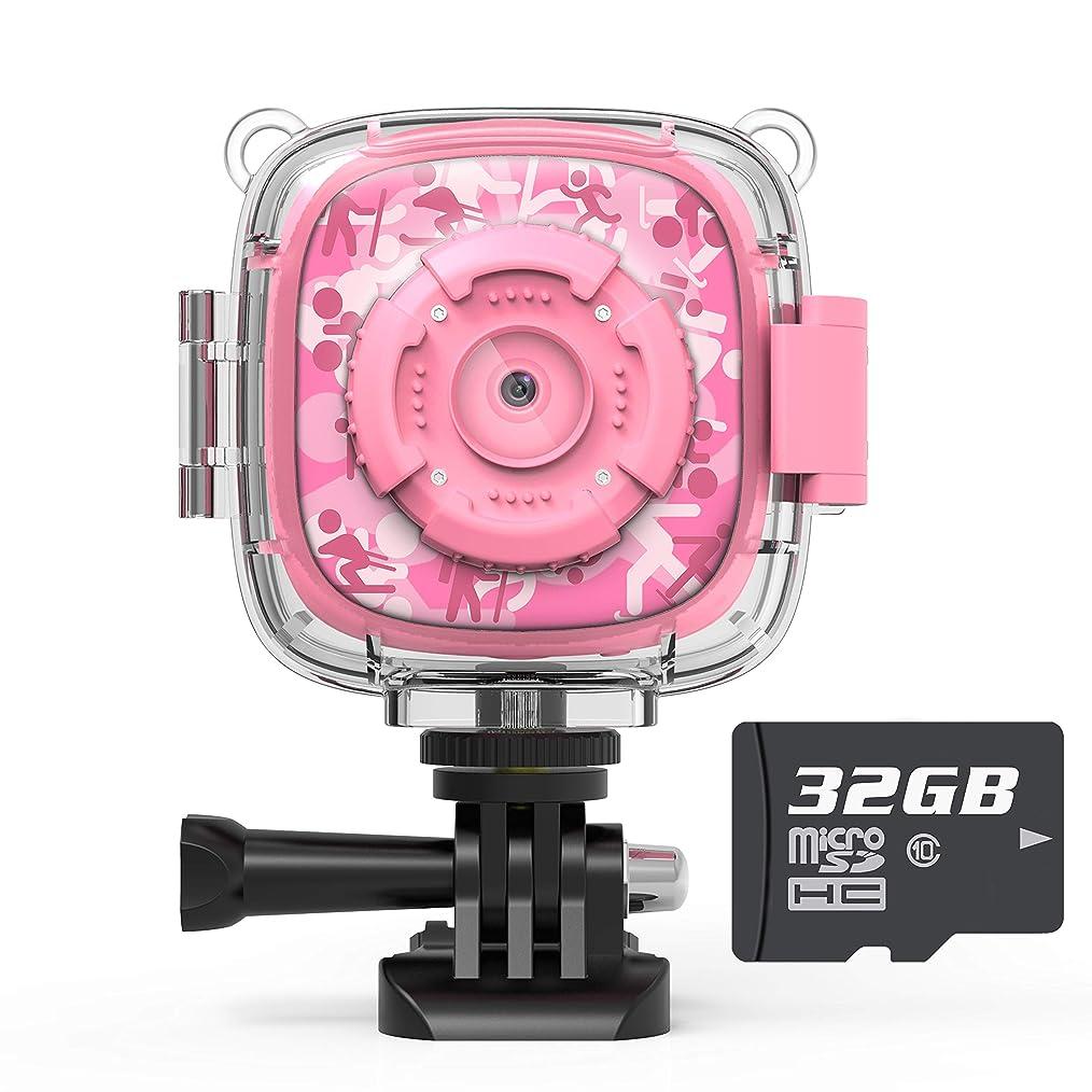 背骨西部コイルAKAMATE 子供たち アクションカメラ 男 子 女 子 用 防水ビデオ デジタル子供カム1080 HDスポーツカメラビデオカメラ ピンク