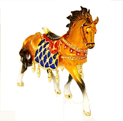 Ciel Collectables Carousal Horse Trinket Box Large. Hand Painted Brown Enamel with Swarovski Crystal