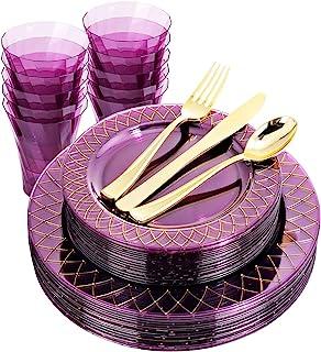 BUCLA 20 Guest Purple Plastic Plates With Disposable Silverware& Cups - Purple Plastic Tableware Include 40 Purple Plastic...