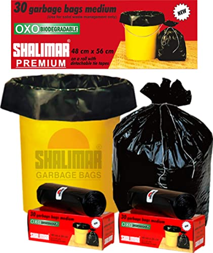 Shalimar Premium OXO - Biodegradable Garbage Bags (Medium) Size 48 cm x 56 cm 6 Rolls (180 Bags) (Black Colour) product image