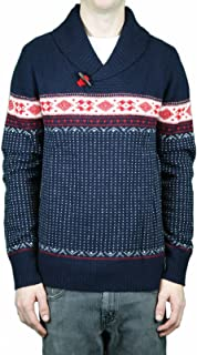Navy Toggle Neck Winter Print Sweater Sz XL