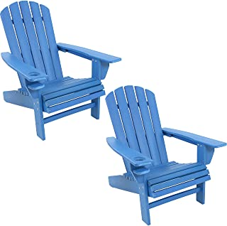 Sunnydaze All-Weather Outdoor Adirondack Chair with Drink Holder - Heavy Duty HDPE Weatherproof Patio Chair - Ideal for La...