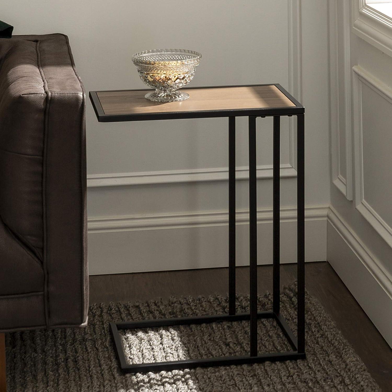 Walker Edison Brentwood Modern Glam Metal Base C Table, 20 Inch, Brown